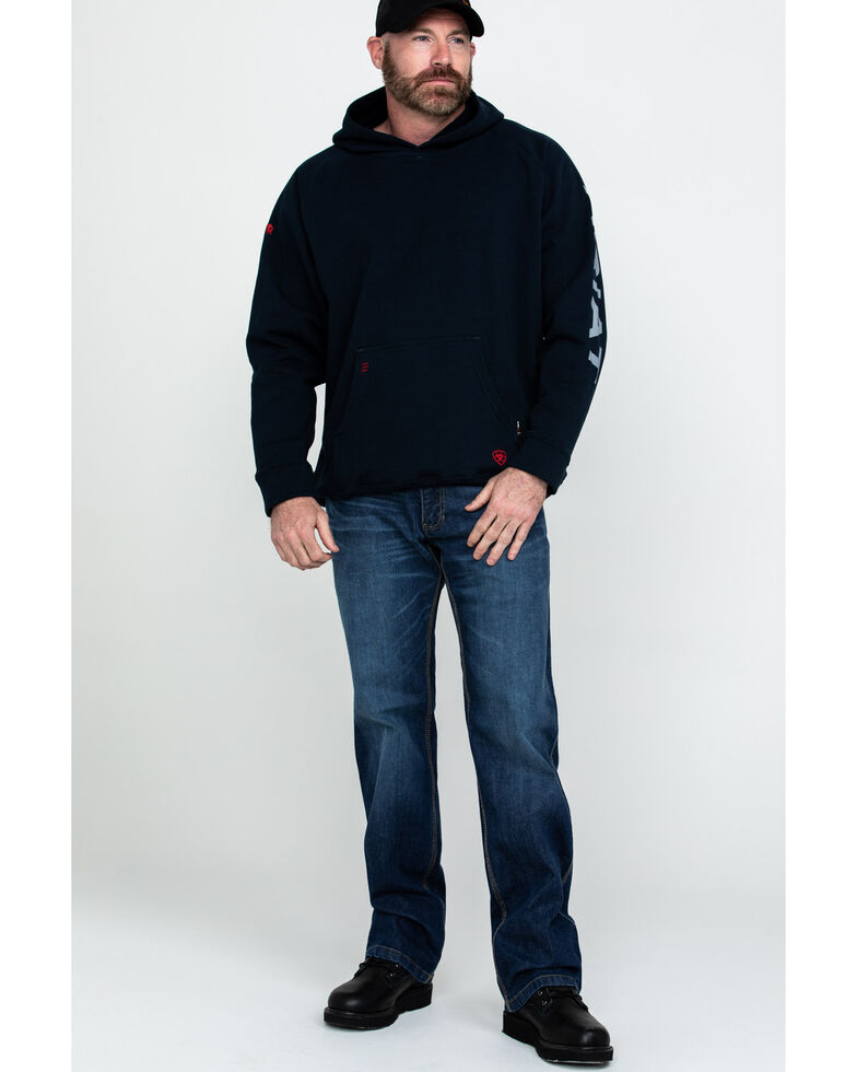 Ariat Men's Navy FR Primo Fleece Logo Hooded Work Sweatshirt - Tall , Navy, hi-res
