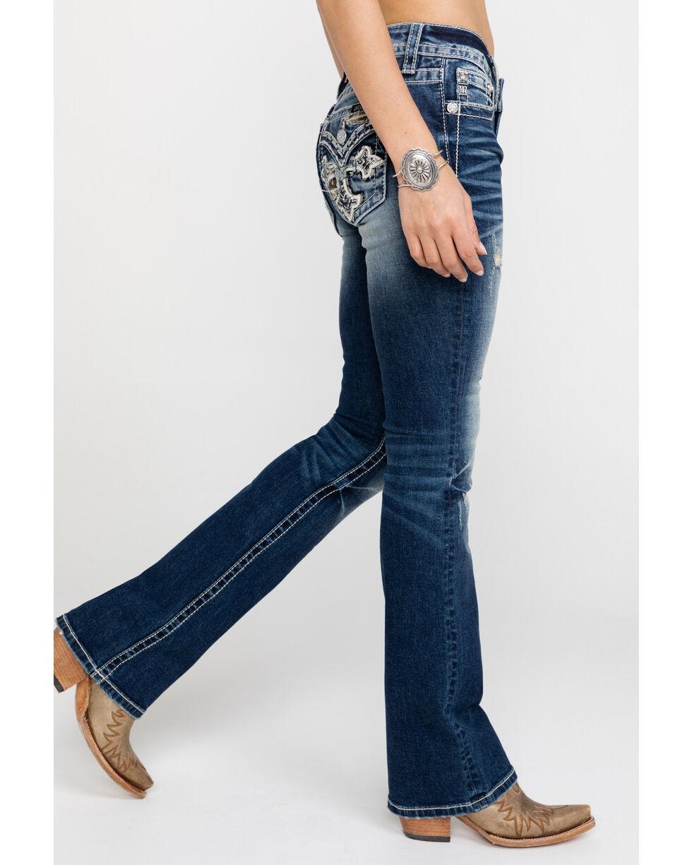 Miss Me Women's Dark Camo Cross Bootcut Jeans , Blue, hi-res