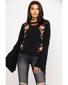 Rock & Roll Cowgirl Women's Black Floral Bell Sleeve top, Black, hi-res