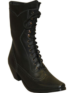 "Rawhide by Abilene Women's 8"" Victorian Lace Up Boots - Snip Toe, Black, hi-res"