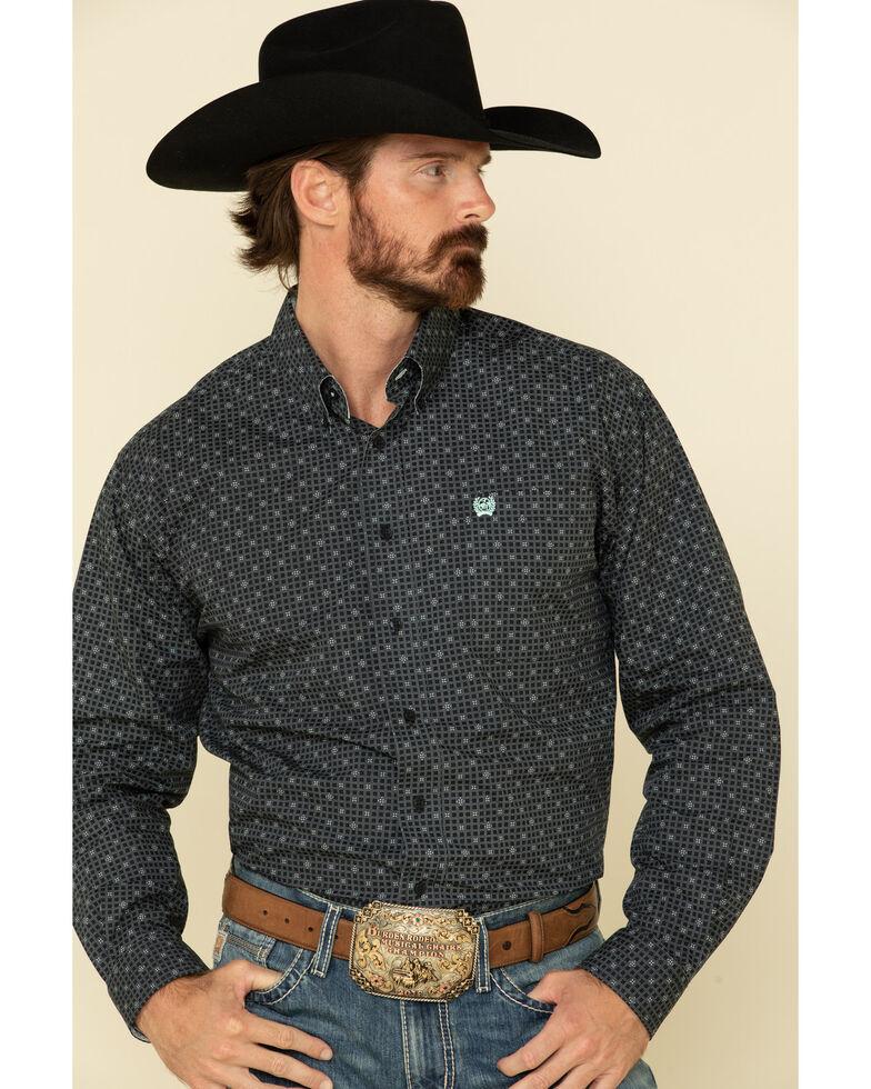 Cinch Men's Navy Square Geo Print Long Sleeve Western Shirt , Navy, hi-res