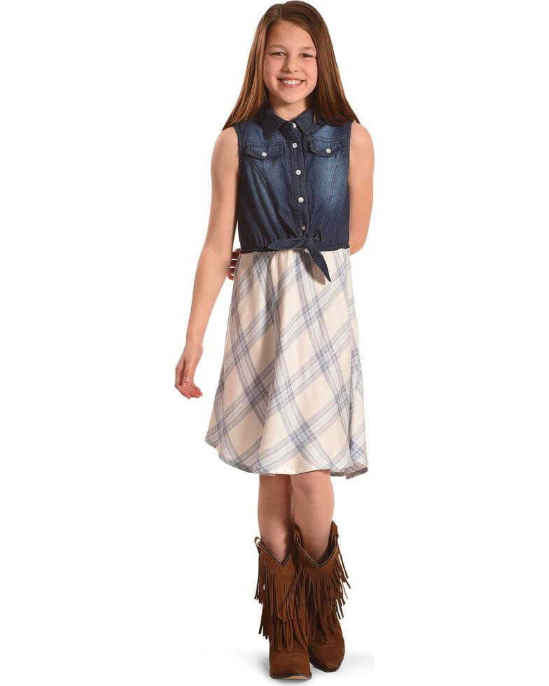 Silver Toddler Girls' Blue Sleeveless Denim Plaid Dress, Blue, hi-res