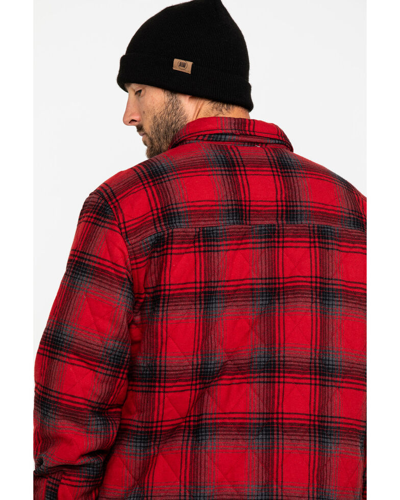 Hawx Men's Red Miller Plaid Quilted Flannel Work Shirt Jacket , Red, hi-res