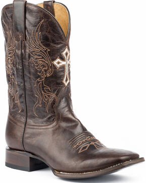 Roper Men's Scriptures Embroidered Cross Cowboy Boots - Square Toe, Black, hi-res