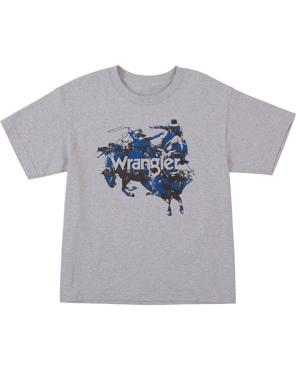 Wrangler Boys' Grey Bull Rider Graphic Tee , Grey, hi-res