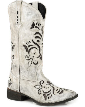 Roper Women's Belle White Antiqued Brushed Suede Cowgirl Boots - Square Toe, White, hi-res