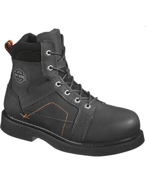 Harley-Davidson Men's Pete Steel Toe Lace Up Motorcycle Boots, Black, hi-res