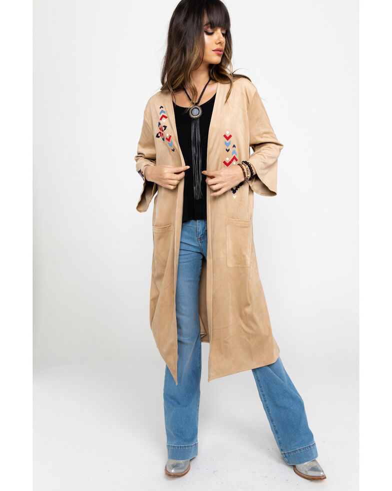 Ariat Women's Faux Suede Aztec Embroidered Duster , Tan, hi-res