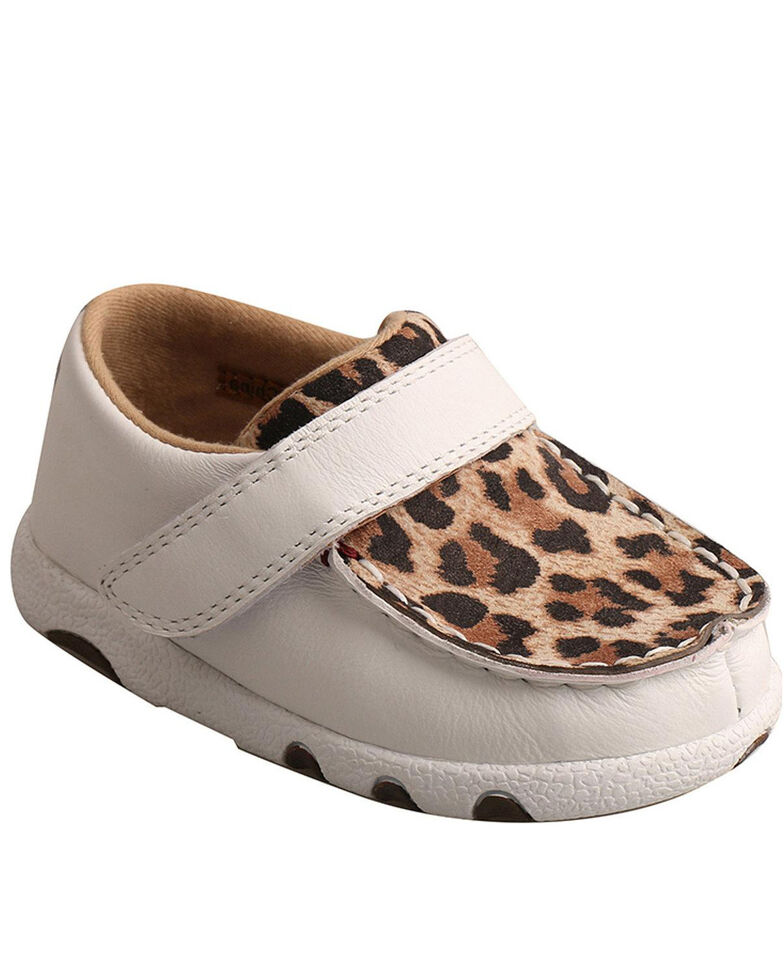 Twisted X Infant Girls' White Leopard Shoes - Moc Toe, White, hi-res