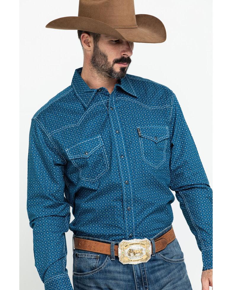 Cinch Men's Blue Diamond Geo Print Long Sleeve Western Shirt , Blue, hi-res