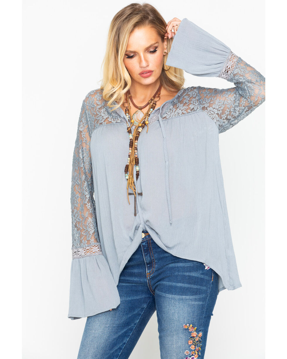 Wrangler Women's Grey Lace Sleeve Peasant Top , Grey, hi-res