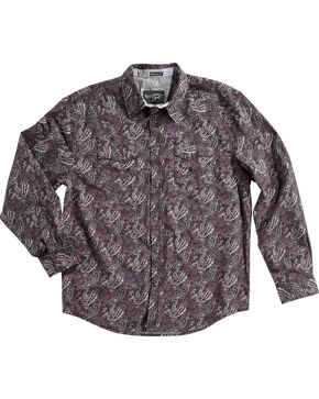 Moonshine Spirit Men's Desperado Paisley Long Sleeve Snap Shirt, Purple, hi-res