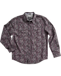 Moonshine Spirit Men's Desperado Paisley Print Long Sleeve Western Shirt , Purple, hi-res