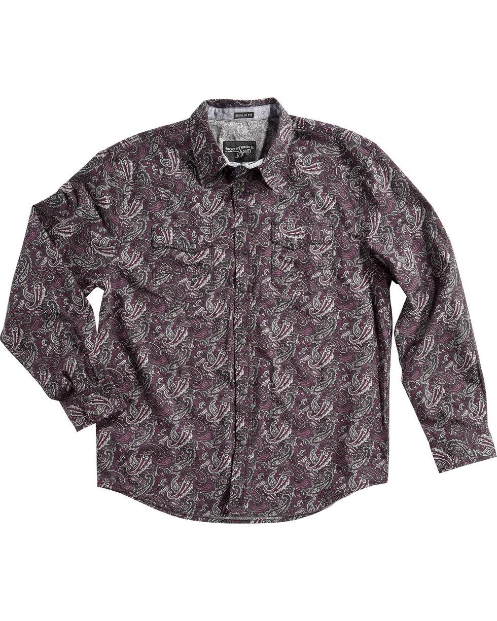 Moonshine Spirit Men's Desperado Paisley Long Sleeve Snap Shirt, Purple, hi-res