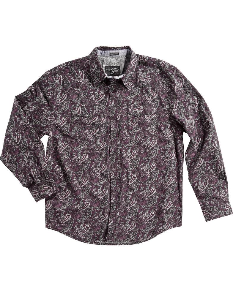Moonshine Spirit Men's Desperado Paisley Print Long Sleeve Western Shirt , Purple, hi-res