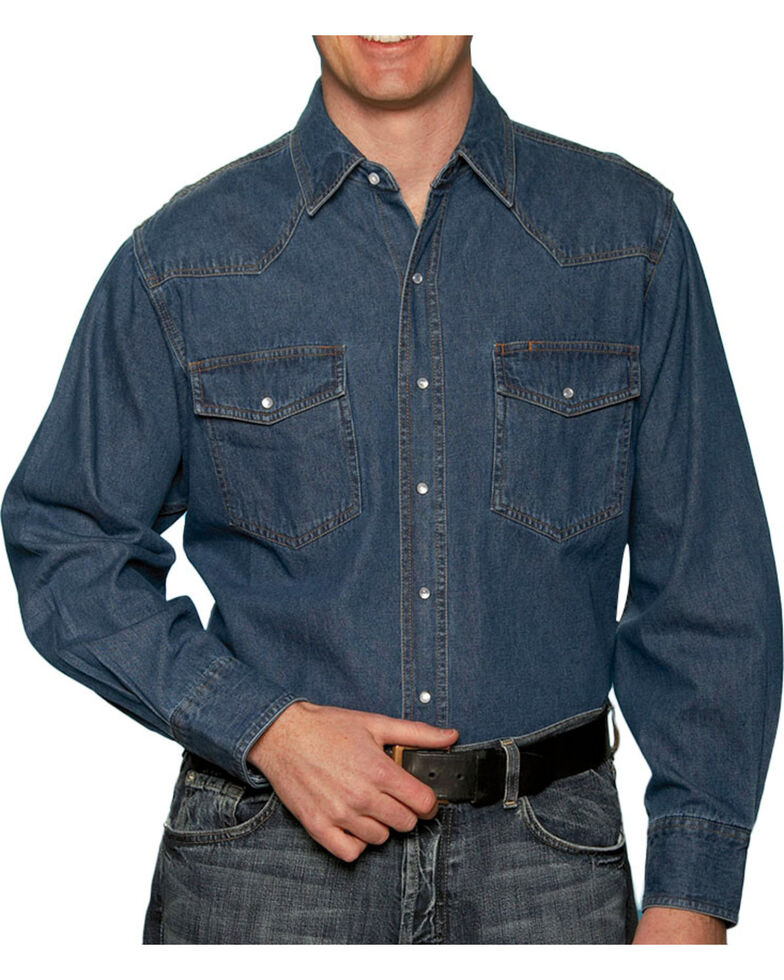 Ely Cattleman Mens Stonewashed Denim Shirt - Big & Tall, Navy, hi-res