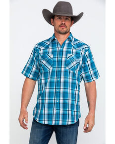 Ely Cattleman Men's Blue Sawtooth Textured Plaid Short Sleeve Western Shirt , Blue, hi-res