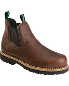 Georgia Men's Waterproof Steel Toe Romeo Casual Work Boots, Brown, hi-res