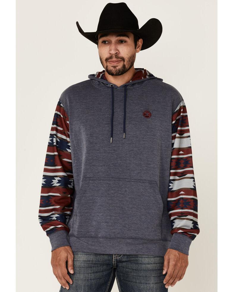 HOOEY Men's Washed Navy Aztec Hooded Sweatshirt, Navy, hi-res