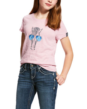 Ariat Girls' Haberdashery Horse Sunglasses Graphic Tee , Lavender, hi-res