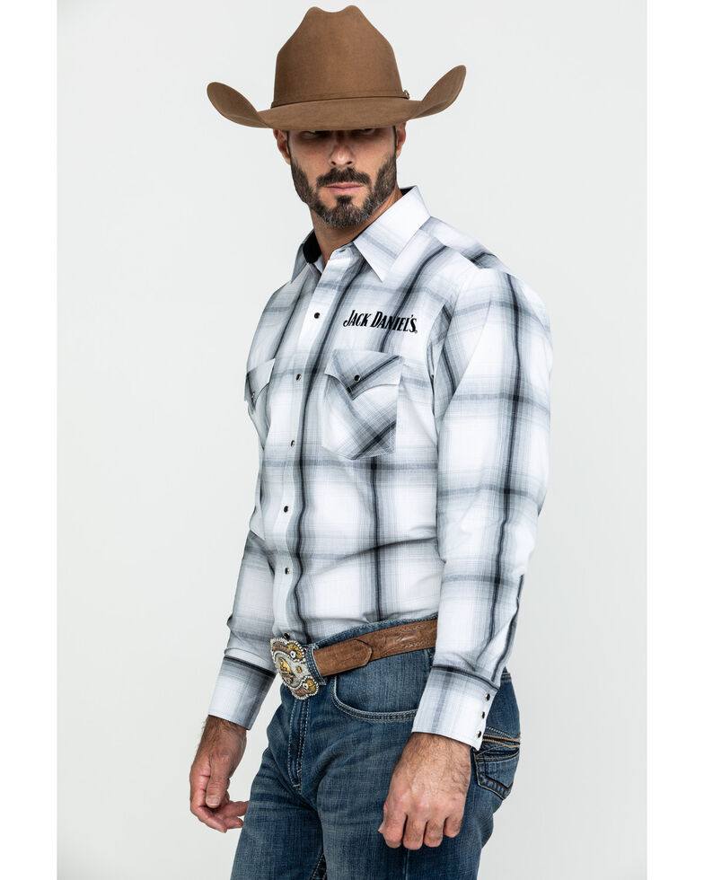 Jack Daniel's Men's Embroidered Large Plaid Long Sleeve Western Shirt , White, hi-res