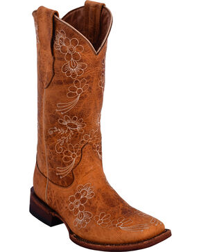 Ferrini Women's Daisy Light Brown Floral Stitched Cowgirl Boots - Square Toe, Lt Brown, hi-res