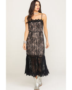 BB Dakota Women's Black Lace To Face Midi Dress, Black, hi-res