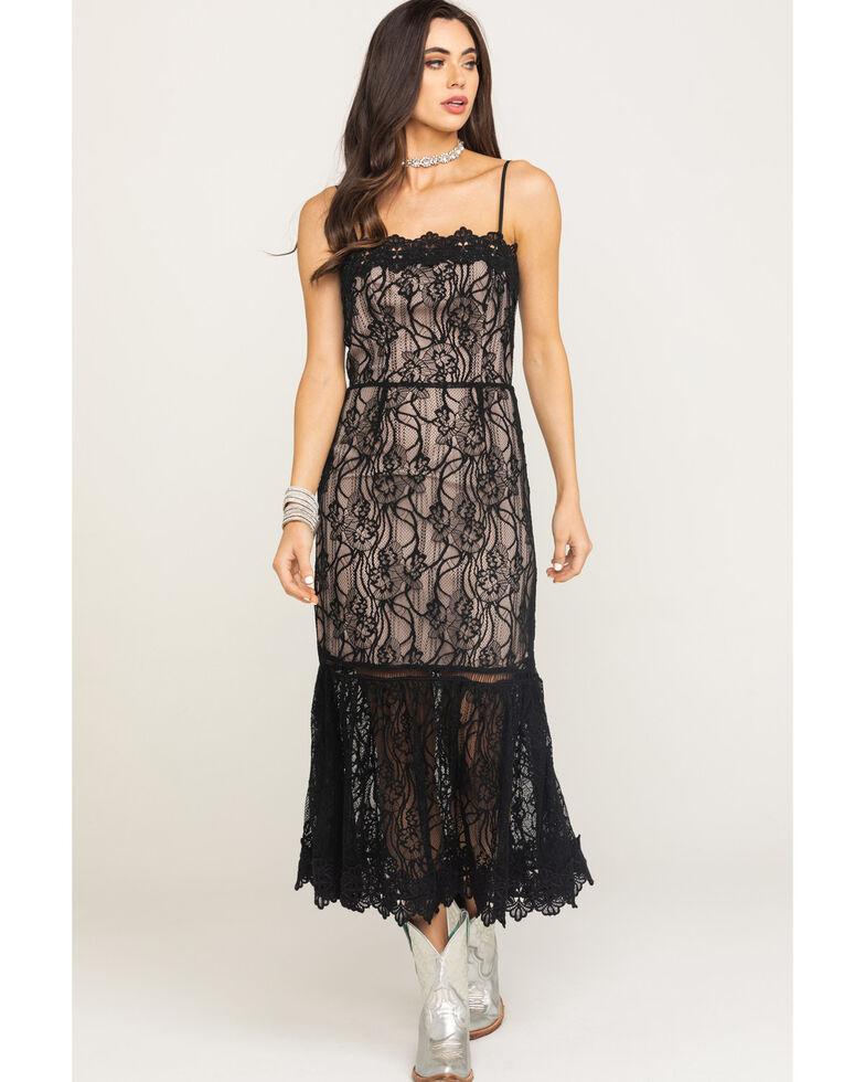 BB Dakota Women's Black Lace To Face Midi Dress, Black, hi-res