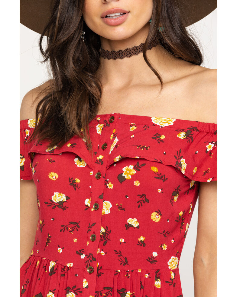 Shyanne Women's Red Ditsy Off Shoulder Button Down Dress, Red, hi-res