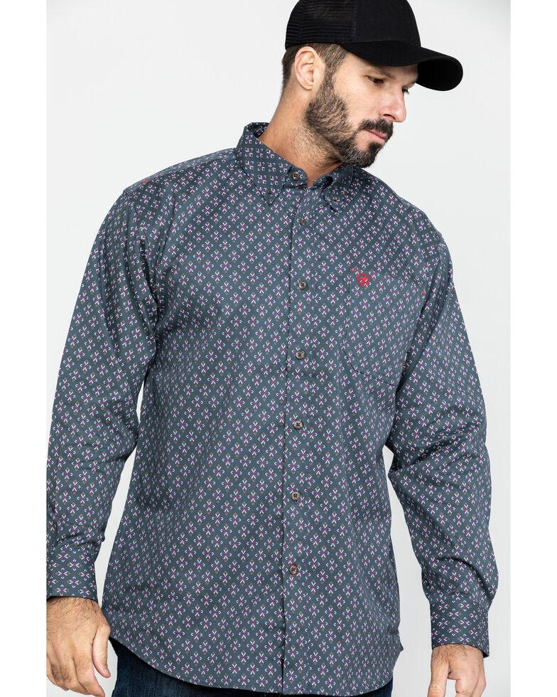 Ariat Men's FR Overtime Print Long Sleeve Work Shirt , Blue, hi-res