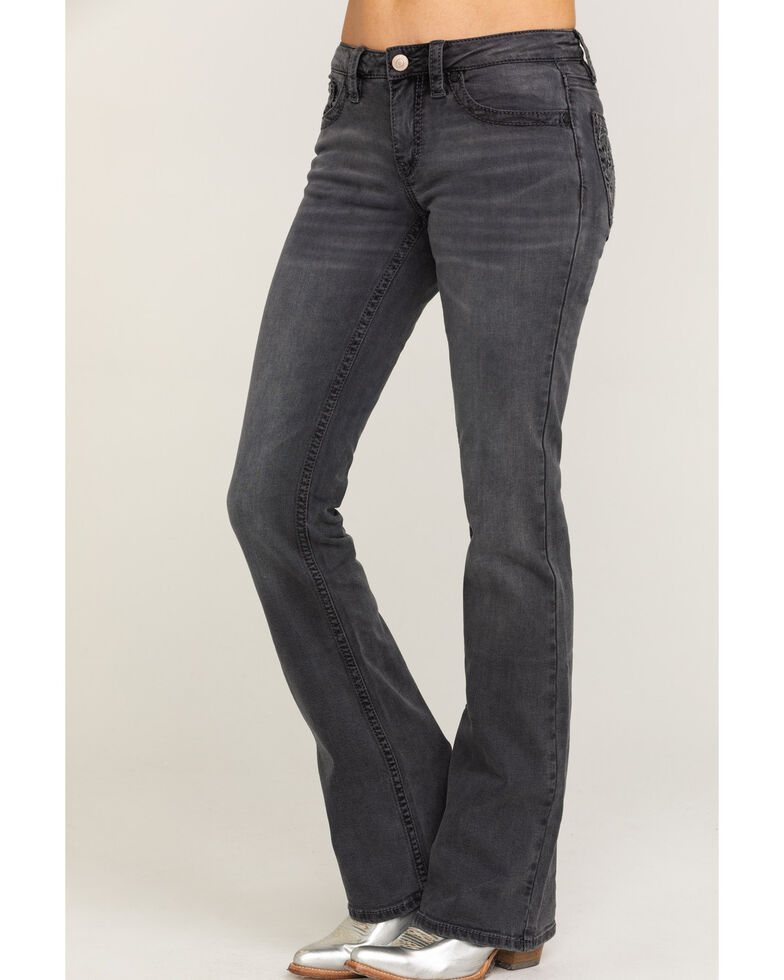 Shyanne Women's Grey Feather Bootcut Jeans, Grey, hi-res