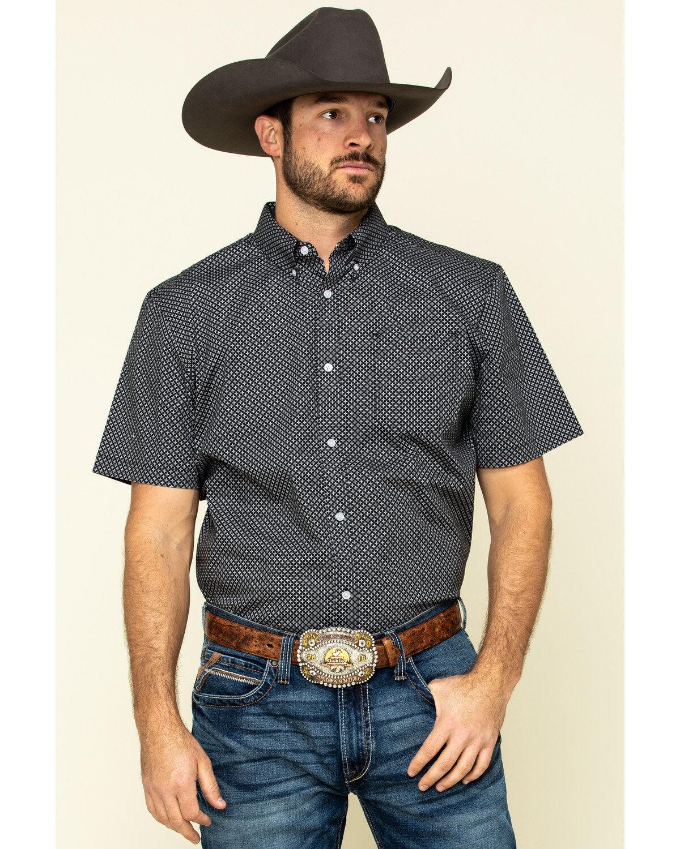 Mens Work Button Down Plaid Short Sleeve Casual Western Shirt