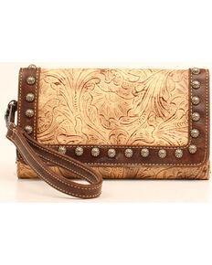 Blazin Roxx Women's Embossed Studded Clutch Wallet, Brown, hi-res