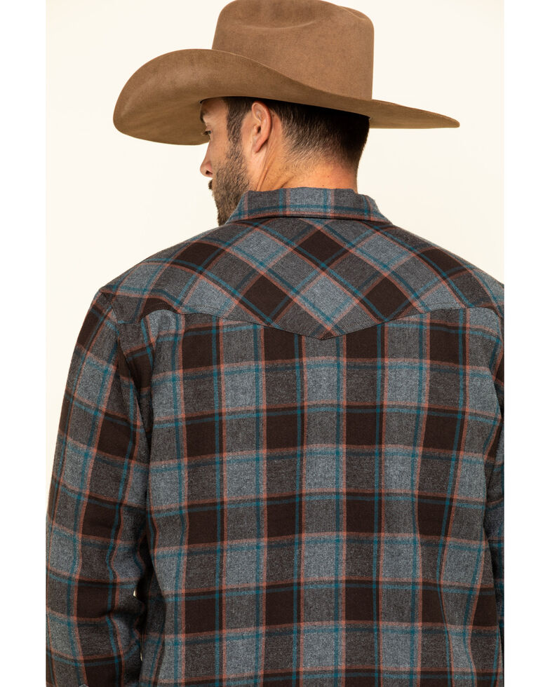 Cody James Men's Eureka Plaid Sherpa Bonded Long Sleeve Western Flannel Shirt , Brown, hi-res