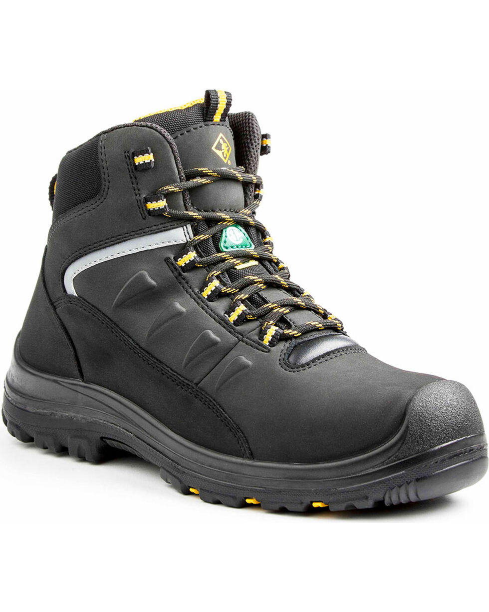 "Terra Men's Black 6"" Findlay Shoe - Round Toe, Black, hi-res"