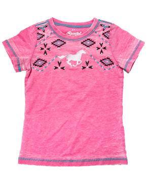 Cowgirl Hardware Girls' Southwest Horse Short Sleeve Tee, Pink, hi-res
