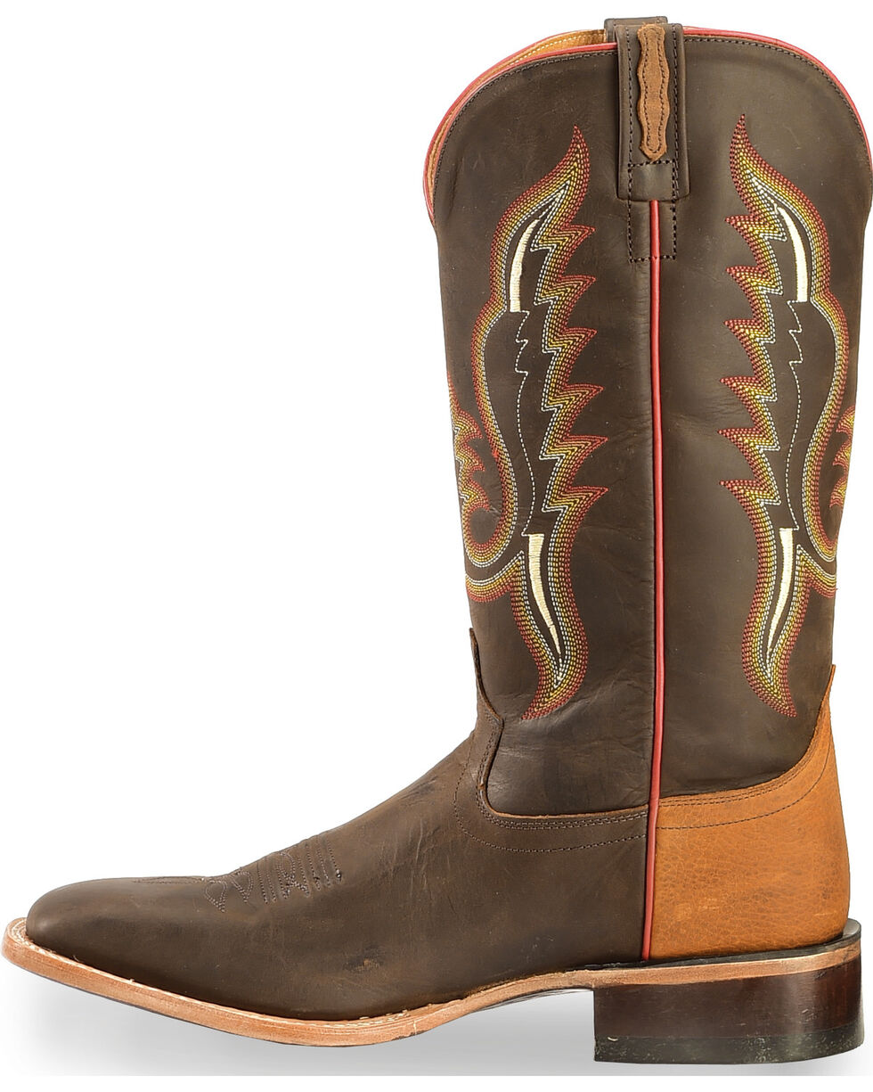 Old West Men's Light Brown and Red Cowboy Boots - Square Toe , Brown, hi-res