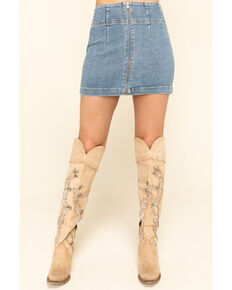 Free People Women's Light Denim Virgo Mini Skirt, Blue, hi-res