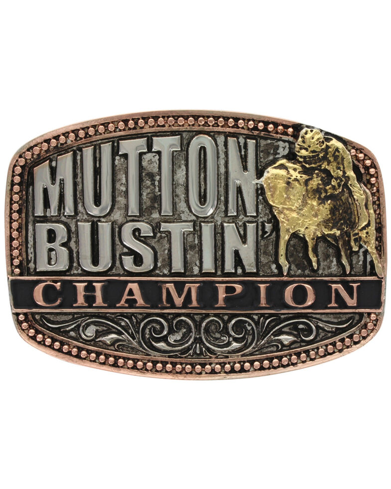 Montana Silversmiths Kids' Little Attitude Mutton Bustin Champion Belt Buckle, Multi, hi-res