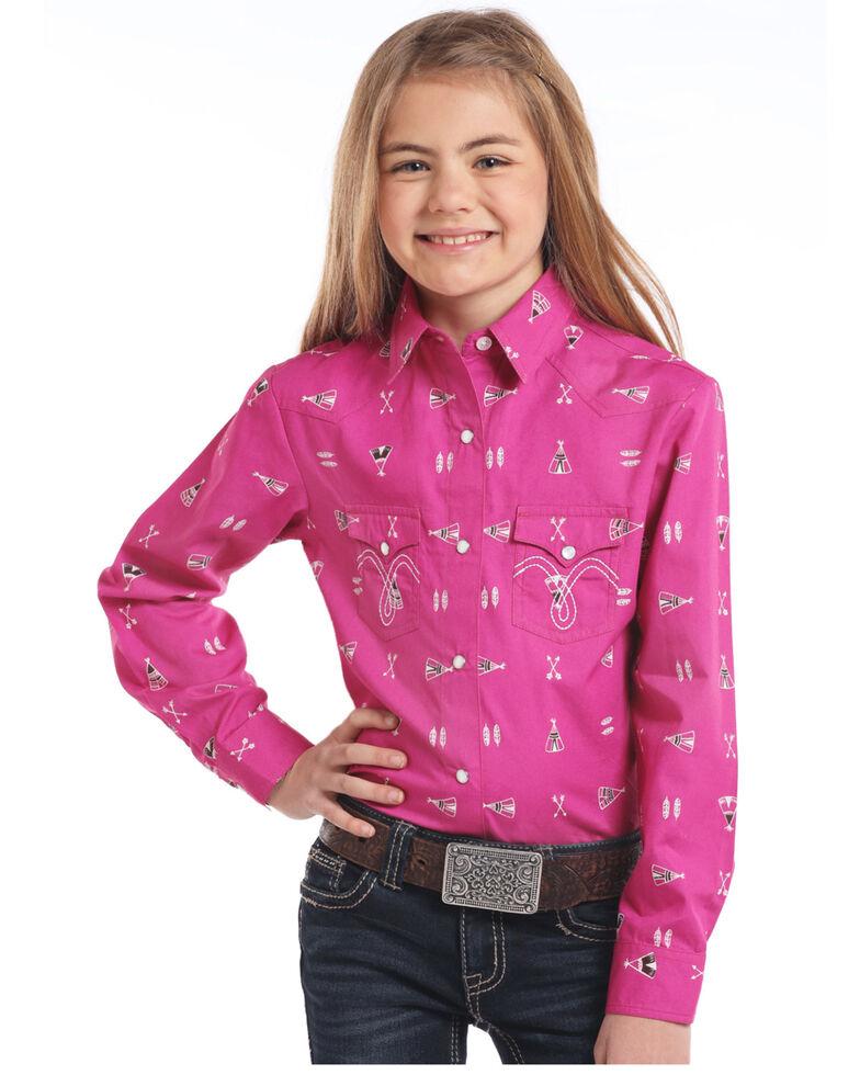 White Label by Panhandle Girls' Pink Teepee Print Snap Long Sleeve Western Shirt, Pink, hi-res