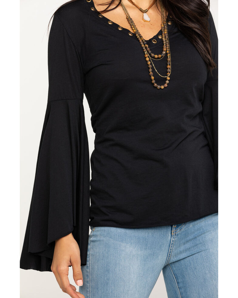 Rock & Roll Cowgirl Women's Extreme Bell Sleeve Rivet Trim Top, Black, hi-res