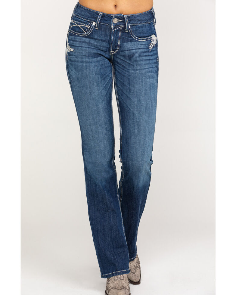 Ariat Women's R.E.A.L. Shimmer Bootcut Jeans, Blue, hi-res