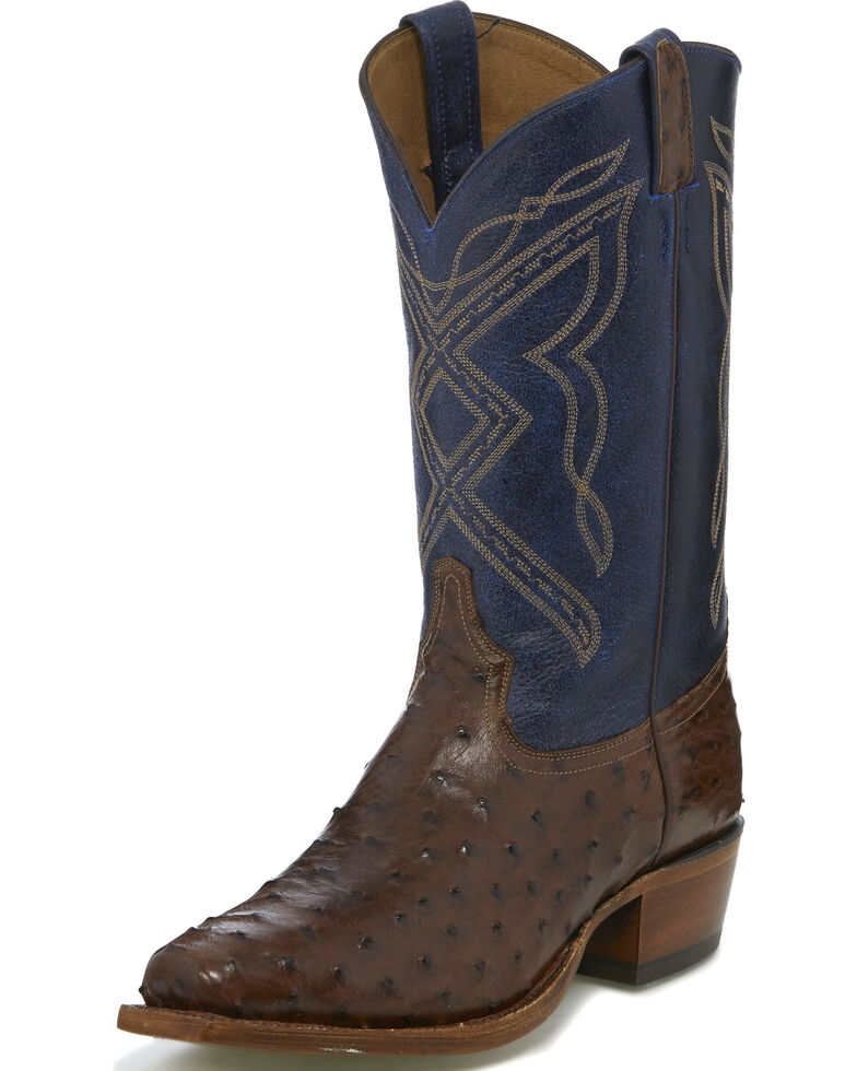 Tony Lama Men S Dark Brown Blue 12 Quot Full Quill Ostrich