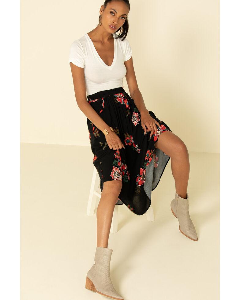 Shyanne Women's Black Floral Midi Skirt , Black, hi-res