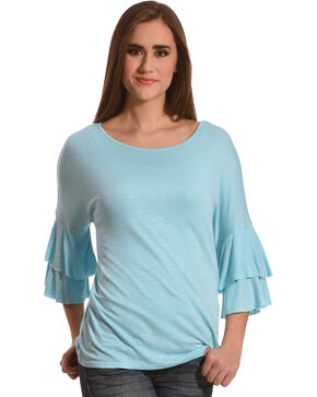 Harlow & Rose Women's Aqua Boat Neck Top , Aqua, hi-res