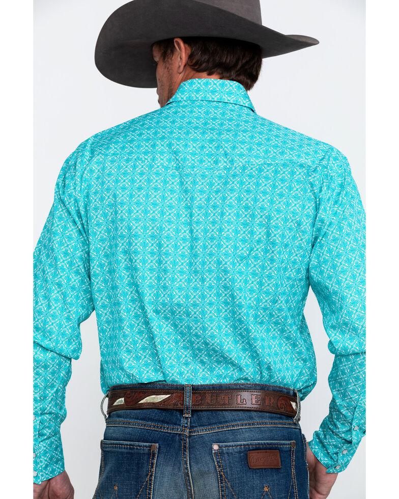 Roper Men's Amarillo Geo Print Long Sleeve Western Shirt , Turquoise, hi-res