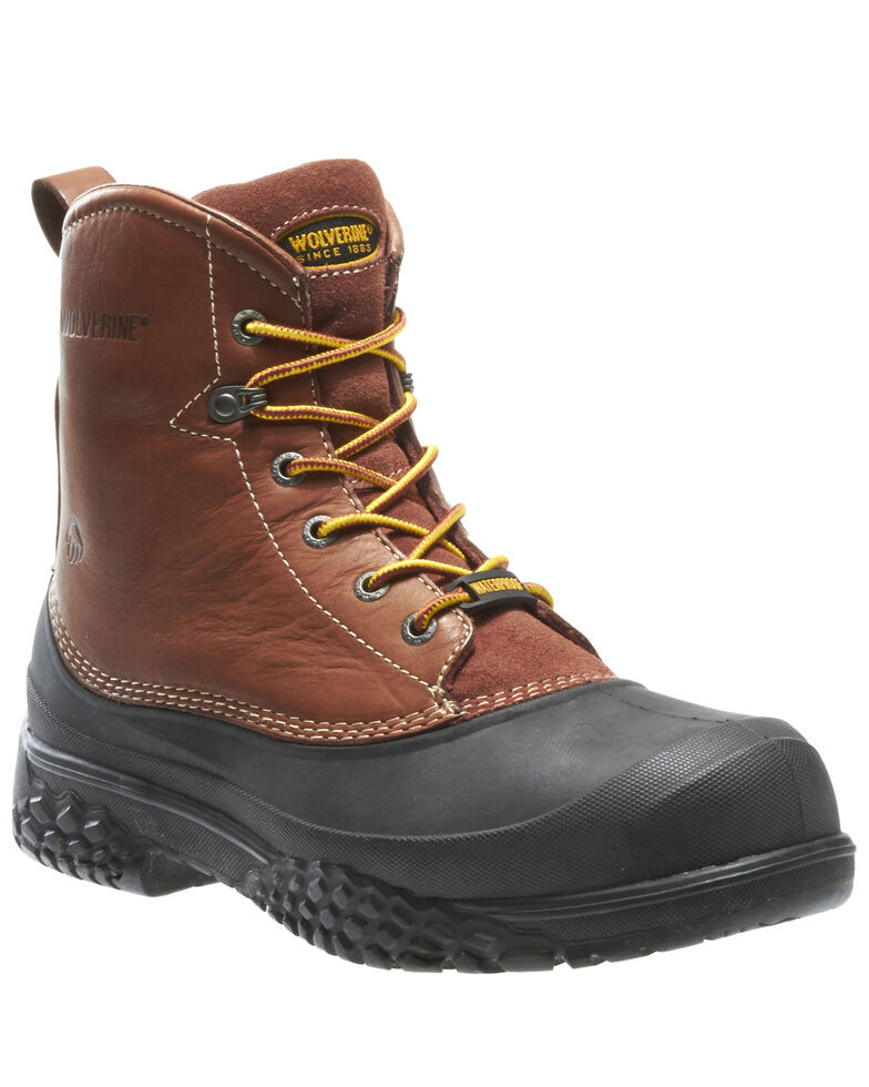 Wolverine Men's Swampmonster Waterproof Work Boots - Steel Toe, Brown, hi-res