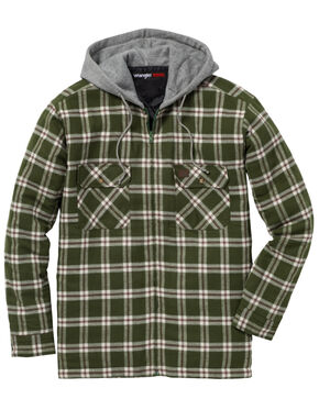 Wrangler Men's Plaid Hooded Quilted Flannel Jacket - Big & Tall, Olive, hi-res