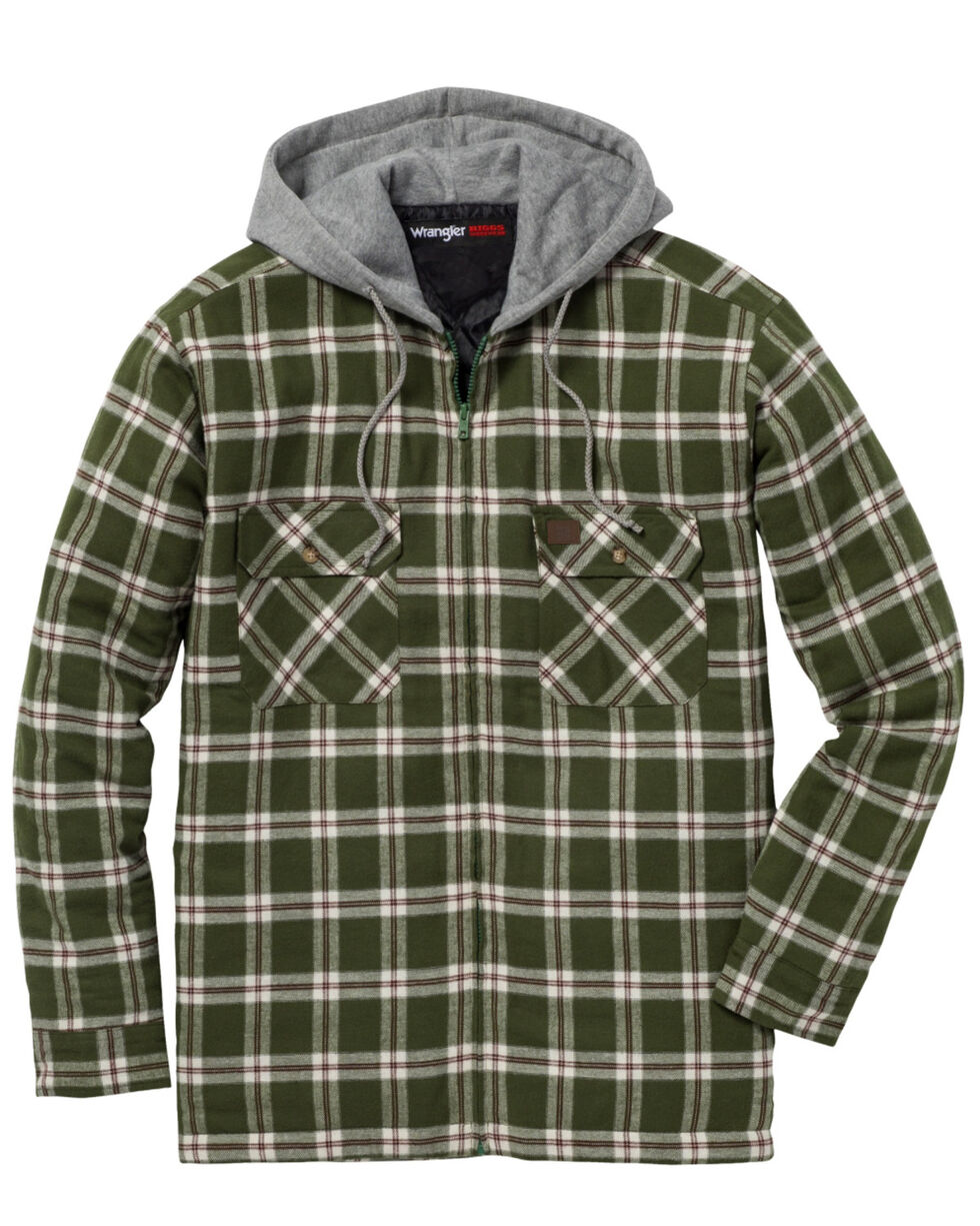 Wrangler Men's Plaid Hooded Quilted Flannel Jacket - Big and Tall, Olive, hi-res