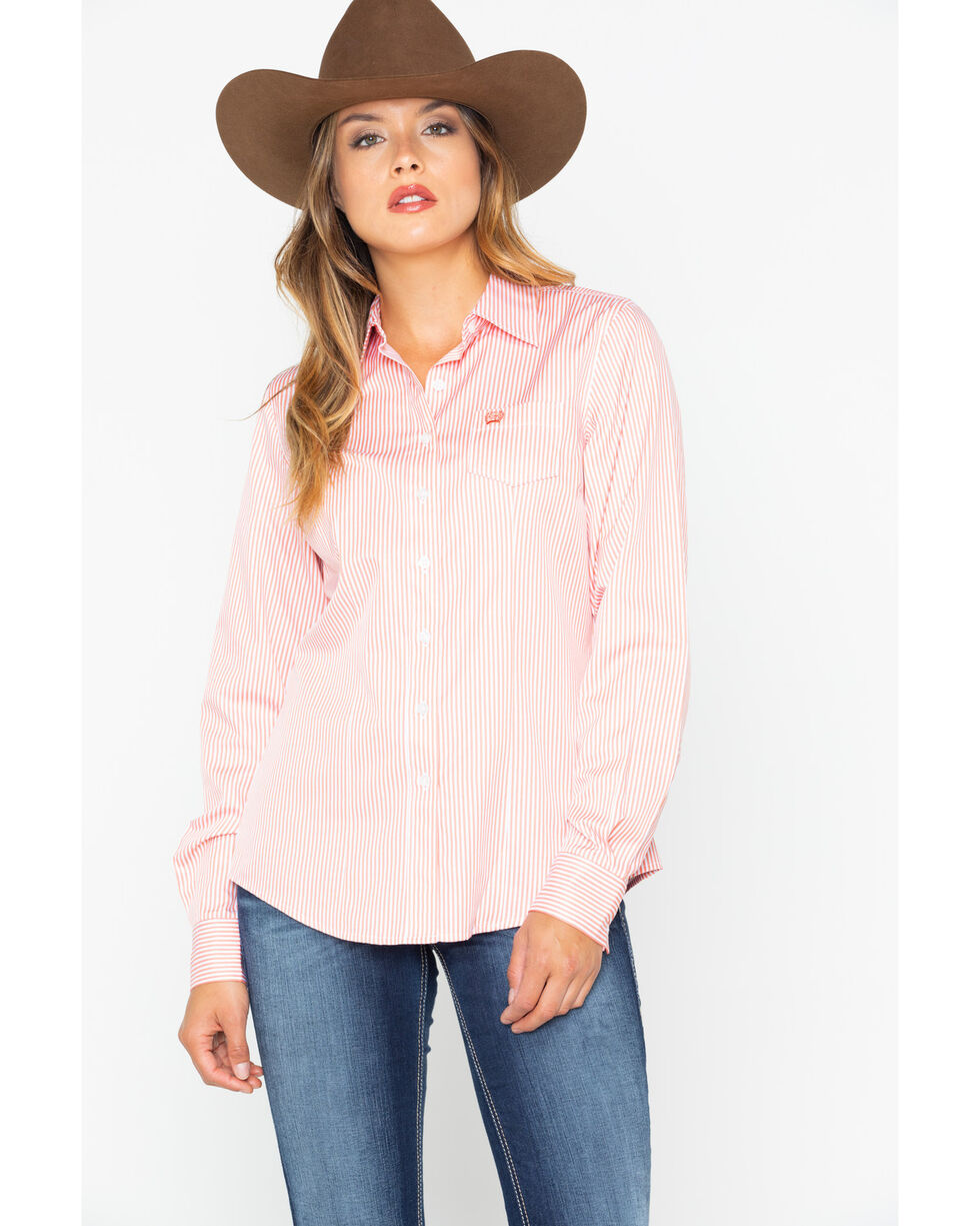 Cinch Women's Coral Stripe Button Down Core Western Shirt , Coral, hi-res